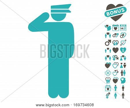 Police Officer pictograph with bonus valentine design elements. Vector illustration style is flat iconic grey and cyan symbols on white background.