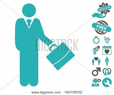 Standing Businessman icon with bonus lovely design elements. Vector illustration style is flat iconic grey and cyan symbols on white background.