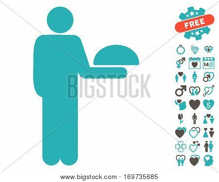 Standing Waiter icon with bonus valentine clip art. Vector illustration style is flat iconic grey and cyan symbols on white background.