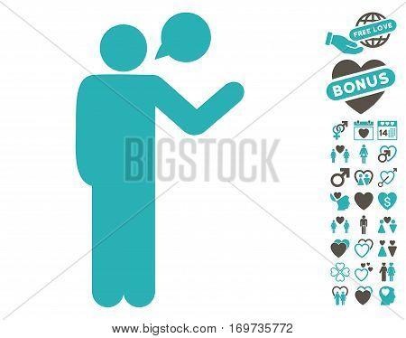 Talking Man icon with bonus valentine symbols. Vector illustration style is flat iconic grey and cyan symbols on white background.