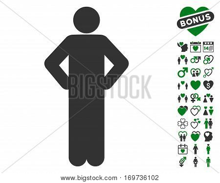 Akimbo Pose pictograph with bonus valentine pictograph collection. Vector illustration style is flat iconic green and gray symbols on white background.
