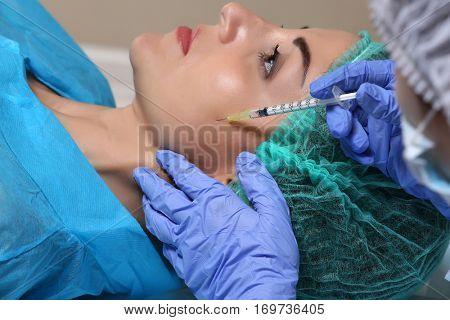 Procedure of facial injection closeup