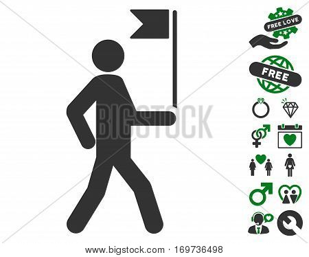 Guide Man With Flag pictograph with bonus love graphic icons. Vector illustration style is flat iconic green and gray symbols on white background.
