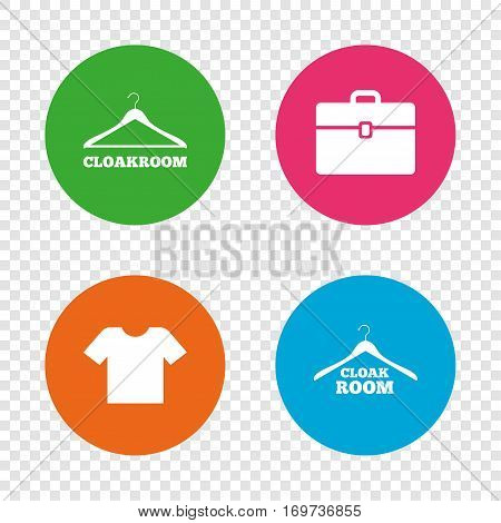 Cloakroom icons. Hanger wardrobe signs. T-shirt clothes and baggage symbols. Round buttons on transparent background. Vector