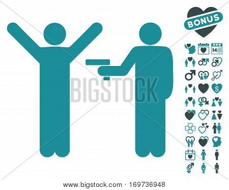 Crime Robbery icon with bonus love clip art. Vector illustration style is flat iconic soft blue symbols on white background.