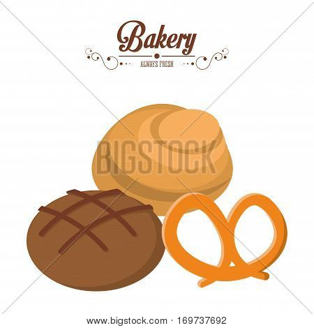 bakery integral bread and roll pretzel always fresh vector illustration eps 10