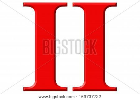 Roman Numeral Ii, Duo, 2, Two, Isolated On White Background, 3D Render