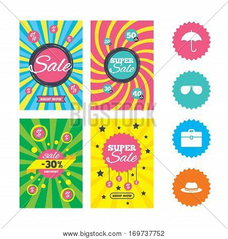 Web banners and sale posters. Clothing accessories icons. Umbrella and sunglasses signs. Headdress hat with business case symbols. Special offer and discount tags. Vector