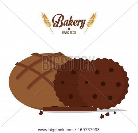 bakery cookies and integral bread always fresh vector illustration eps 10