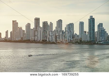 Cartagena cityscape view with skyscrapers next to sea. Modern building in Cartagena colombia poster