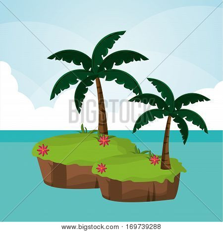paradisiac island palm tree sea vector illustration eps 10