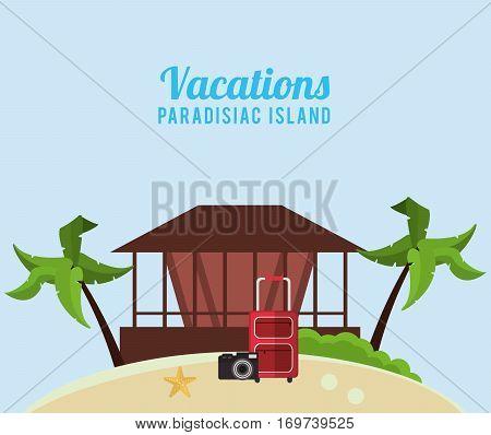 vacations paradisiac island hut suitcase camera vector illustration eps 10