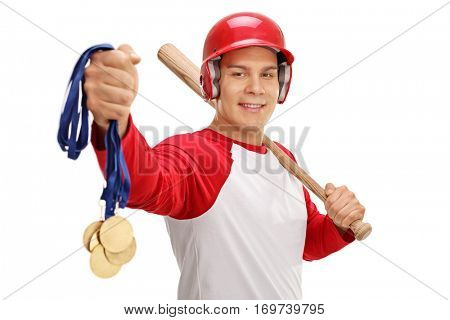 Baseball player holding gold medals and a bat isolated on white background