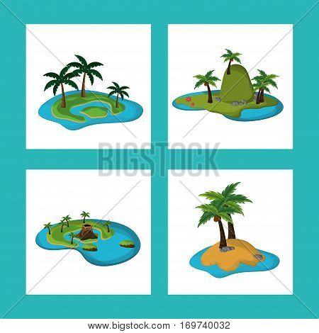 collection paradisiac island tropical caribbean vector illustration eps 10