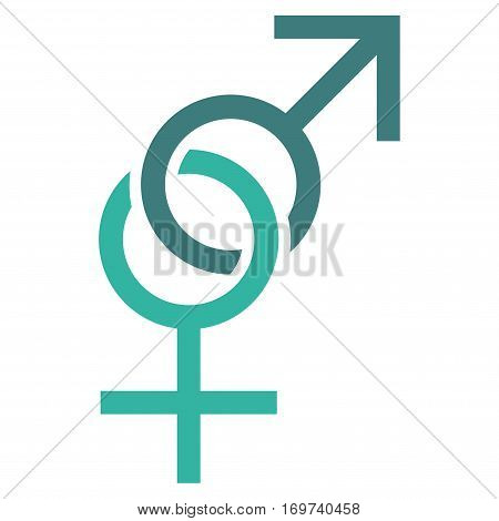 Sex Symbol flat icon. Vector bicolor cobalt and cyan symbol. Pictograph is isolated on a white background. Trendy flat style illustration for web site design logo ads apps user interface.