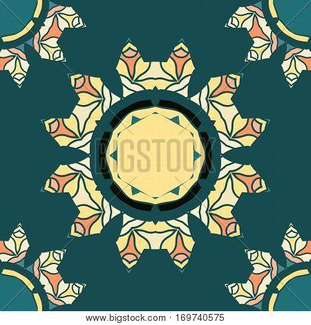Colorful mandala-like pattern on green seamless texture. Hand-drawn mandala flower. Ornamental round seamless lace pattern. Abstract vector tribal ethnic yoga yantra background seamless motif. Endless pattern.