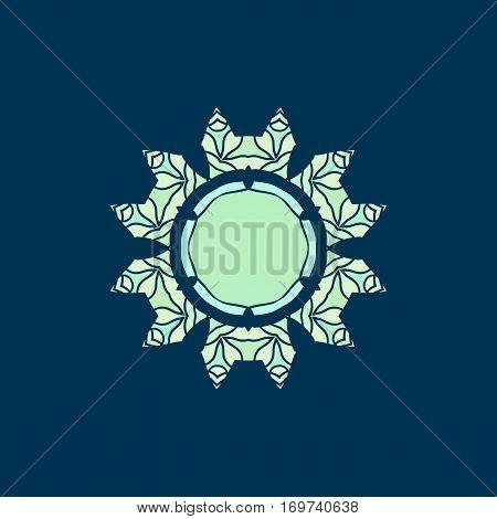 Elegant mandala-like pattern on blue. Hand-drawn mandala flower. Ornamental round seamless lace pattern. Abstract vector tribal ethnic yoga yantra background motif. Copyspace.