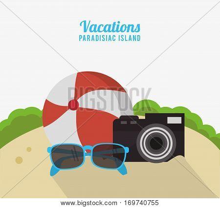 vacations paradisiac island beach ball photo camera sunglasses vector illustration eps 10