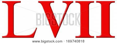 Roman Numeral Lvii, Septem Et Quinquaginta, 57, Fifty Seven, Isolated On White Background, 3D Render