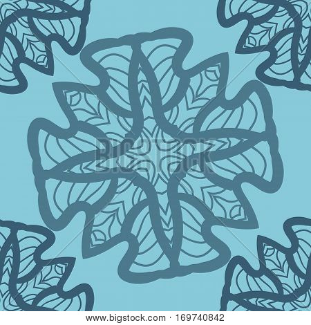 Blue mandala ornament symmetry seamless background. Decorative round ornament for colouring anti-stress therapy. Fabric design elements. Yoga inspired backgrounds for meditation poster. Unusual stylized flower shape. Oriental vector patteren.