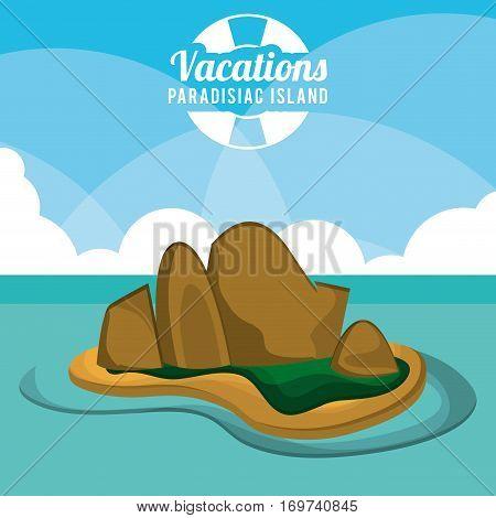 vacations paradisiac island sand rocks poster vector illustration eps 10