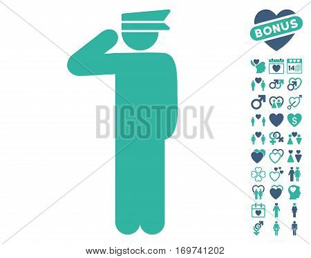Police Officer icon with bonus love design elements. Vector illustration style is flat iconic cobalt and cyan symbols on white background.