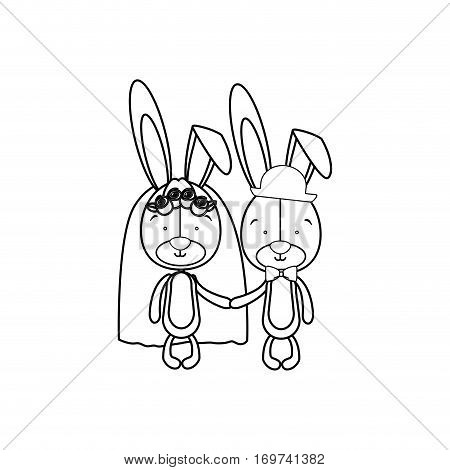 rabbits married icon image, vector illustration design