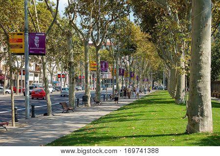 The promenade of Passeig de Pujades in Barcelona, Spain - 31 August 2007