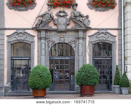 Beautiful facade and portal of the Kantonalbank in Schaffhausen, Switzerland - 14 July 2008