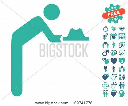 Servant With Hat icon with bonus lovely graphic icons. Vector illustration style is flat iconic cobalt and cyan symbols on white background.