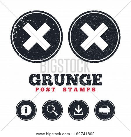 Grunge post stamps. Delete sign icon. Remove button. Information, download and printer signs. Aged texture web buttons. Vector