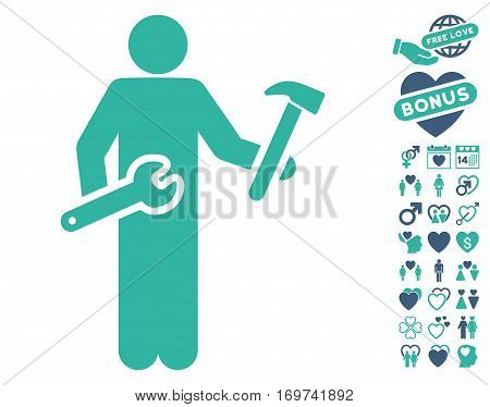 Serviceman icon with bonus lovely graphic icons. Vector illustration style is flat iconic cobalt and cyan symbols on white background.