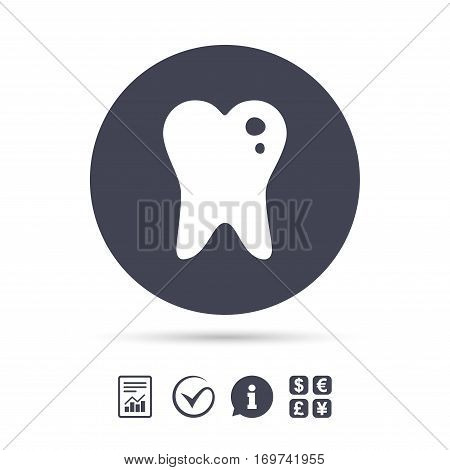 Caries tooth icon. Tooth filling sign. Dental care symbol. Report document, information and check tick icons. Currency exchange. Vector