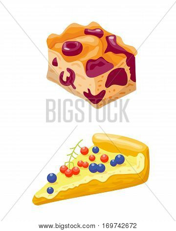 Homemade organic berry pie dessert vector illustration. Fresh golden rustic gourmet bakery. Traditional slice crust delicious. Seasonal tasty warm baked dish.