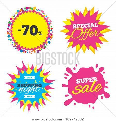 Sale splash banner, special offer star. 70 percent discount sign icon. Sale symbol. Special offer label. Shopping night star label. Vector