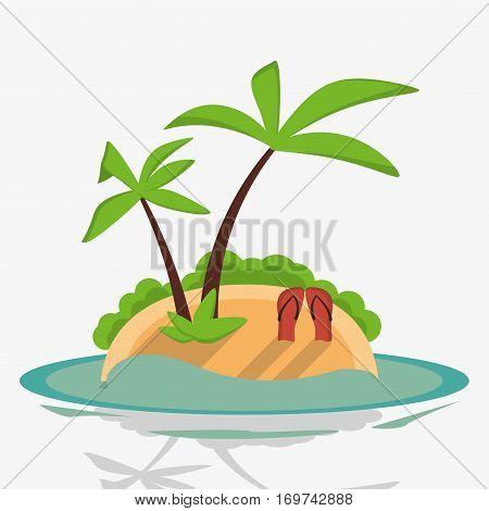 tropical island flip flop sand palm vector illustration eps 10