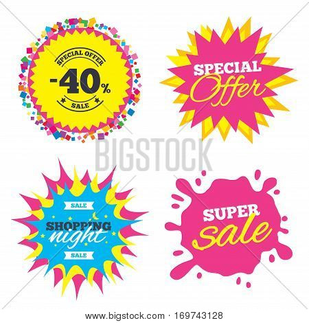 Sale splash banner, special offer star. 40 percent discount sign icon. Sale symbol. Special offer label. Shopping night star label. Vector