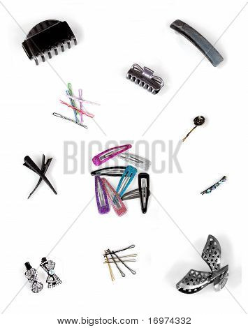 Colorful mix of hair clips, tiepins, clamps, pins, bobbypins in different materials, styles and colors. In clusters, isolated on white, may be used as one picture or separated for several smaller illustrations. poster