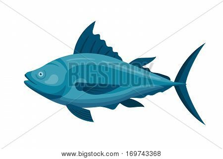 Sea tuna fish animal nature food and ecology environment. Tropical natural thunnus icon isolated on white. Saltwater healthy big seafood nature art.
