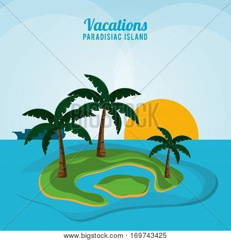 vacations paradisiac island ocean sunlight palm tree vector illustration eps 10