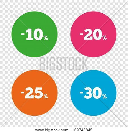 Sale discount icons. Special offer price signs. 10, 20, 25 and 30 percent off reduction symbols. Round buttons on transparent background. Vector