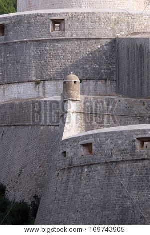 DUBROVNIK, CROATIA - NOVEMBER 30: Walls of Dubrovnik with Minceta Tower in Dubrovnik, Croatia on November 30, 2015.