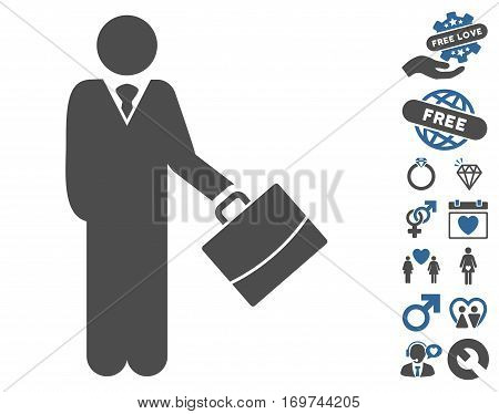 Standing Businessman icon with bonus love graphic icons. Vector illustration style is flat iconic cobalt and gray symbols on white background.