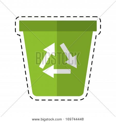 recycle ecology trash can - dot line vector illustration eps 10