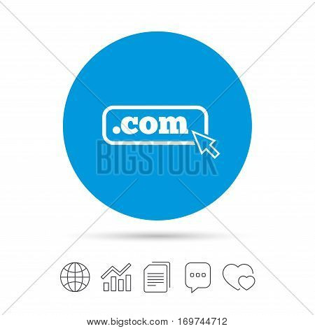 Domain COM sign icon. Top-level internet domain symbol with cursor pointer. Copy files, chat speech bubble and chart web icons. Vector