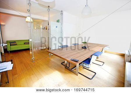 Empty conference room with chairs