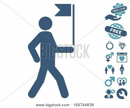 Guide Man With Flag icon with bonus dating pictures. Vector illustration style is flat iconic cyan and blue symbols on white background.