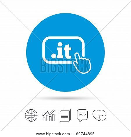 Domain IT sign icon. Top-level internet domain symbol with hand pointer. Copy files, chat speech bubble and chart web icons. Vector