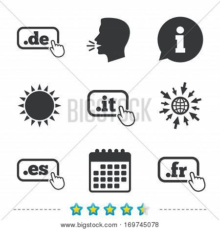Top-level internet domain icons. De, It, Es and Fr symbols with hand pointer. Unique national DNS names. Information, go to web and calendar icons. Sun and loud speak symbol. Vector