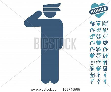 Police Officer icon with bonus love graphic icons. Vector illustration style is flat iconic cyan and blue symbols on white background.